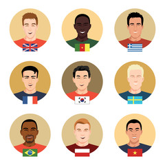 Set of vector icons - people of different nationalities.