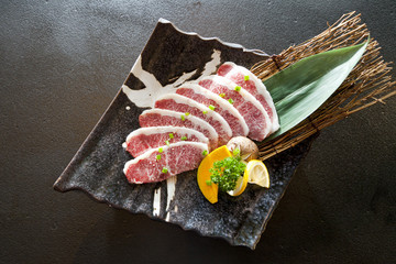 Wagyu Beef sliced in a plate