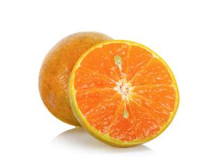 Sliced tangerine isolated on the white background