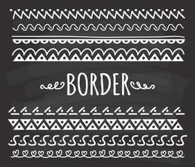 Set of Hand drawn border doodle on chalkboard