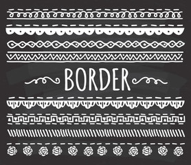 Set of Hand drawn border doodle on chalkboard