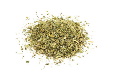 a mixture of crushed meadow grass on a white background
