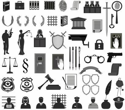 big set law  court.different icons clipart.Themis gavel Libra shield wreath people judge crime