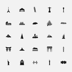 black icons memorable places on a white background flat style