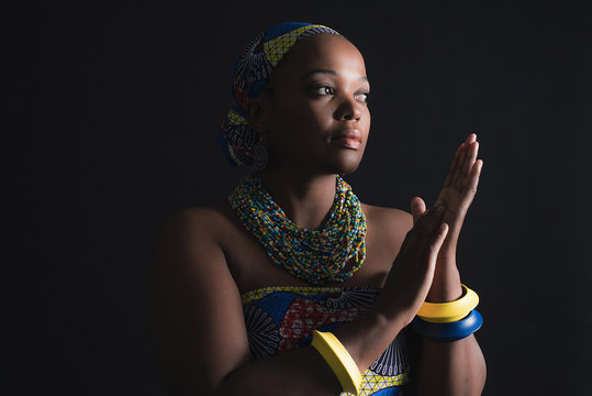 South african xhosa woman wearing colorful necklace and bracelet