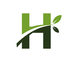 H green leaves letter swoosh ecology logo