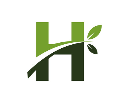 H green leaves letter swoosh ecology logo