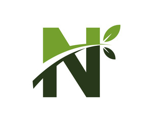 N green leaves letter swoosh ecology logo