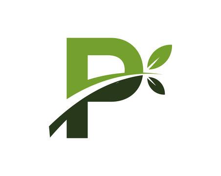 P green leaves letter swoosh ecology logo