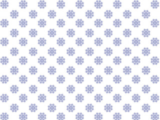 White background with a pattern of blue snowflakes