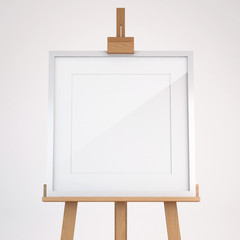 Wooden easel with picture frame