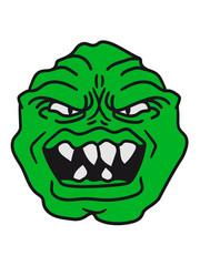ugly face monster horror halloween grimace eat green head