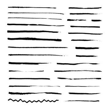 Set of grunge artistic brushes isolated on white