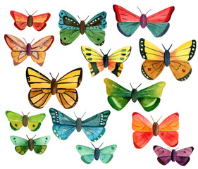 Set of many different watercolor butterflies on white background