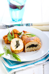 Spinach filling roasted chicken breast