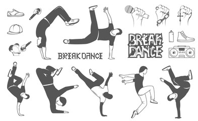 Set of Vector Breakdance Man Silhouettes