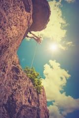Rock climber against the sky