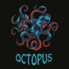 Octopus hand drawn vector illustration. Colorfull vector octopus
