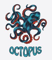 Octopus hand drawn vector illustration. Colorfull vector octopus