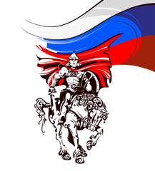 Russian warrior in armor on a horse on the background of the flag of Russia