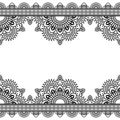 Seamless Pattern Indian mehndi border elements with flowers for card and tattoo on white background.