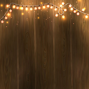 Christmas & New Year design: wooden background with christmas lights garland. Vector illustration, eps10.