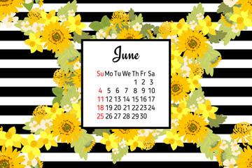 Floral strawberries sunflower Chrysanthemum narcissus background vector illustration