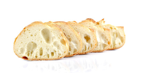 Big Bread cut pieces on white background.
