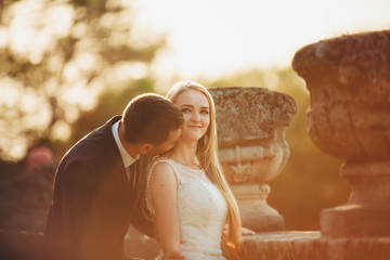 Beautiful romantic wedding couple of newlyweds hugging near old castle on sunset