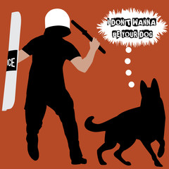 Policeman with baton and police dog. Vector minimal concept for international day against police brutality