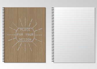 Blank realistic spiral notepad notebook. vertical, closed and open Notepad. vector illustration .Template for your design