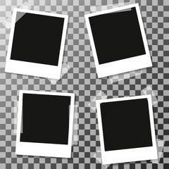 four Retro blank photography with a black place for your image in a photo album page. photo frame with shadow Sticked on tape on a transparent background for your object. Vector illustration