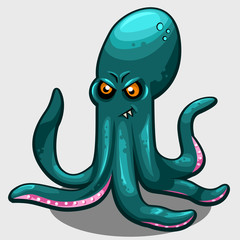 Green evil octopus with eyes isolated