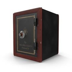 Antique closed iron safe isolated on white