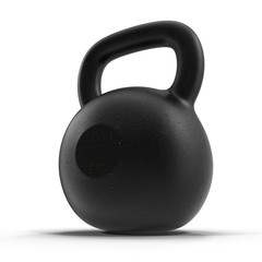 Cast iron kettlebell isolated on white with natural reflection.