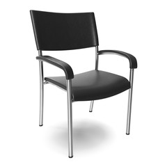 Metal office chair with steel legs on white background.