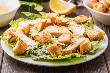 Homemade Chicken Caesar Salad with Cheese and Croutons..