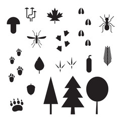 Forest Life Silhouette Vector Outline Icons