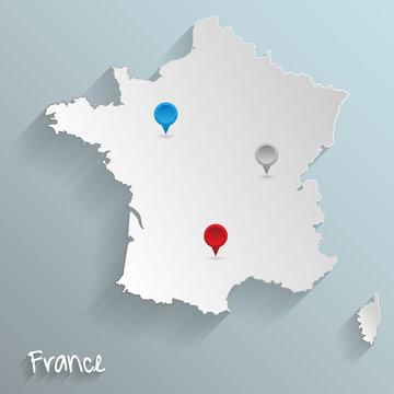 Frankreich Karte 3D Vektor Grafik