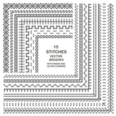 Vector cross stitches pattern brushes