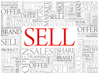 Sell word cloud, business concept background