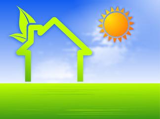 symbole maison écologique verte