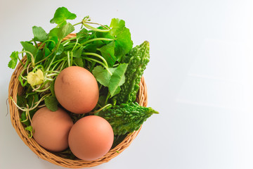 Asiatic, gourd eggs in one basket.
