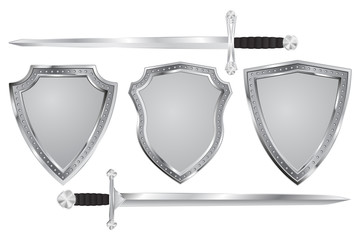 Metal shield with swords.
