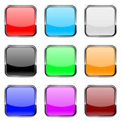 Square buttons. Shiny colored buttons with metal chrome frame.