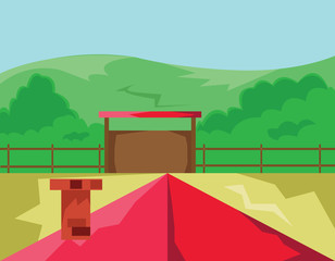 House with Red Roof and Chimney surrounded by Fence with Gate. Countryside View from the Roof. Clear Sky and Green Hills Landscape. Kids Book vector illustration. Digital background.
