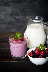 Milkshake with berries