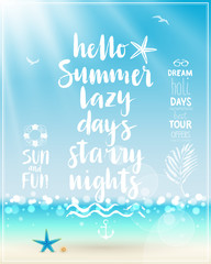 Wall Mural - Hello Summer poster with handwritten calligraphy.