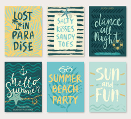 Wall Mural - Summer hand drawn calligraphyc card set.