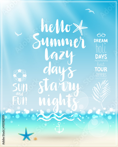 Wall mural Hello Summer poster with handwritten calligraphy.